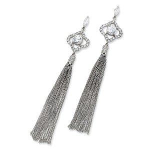 925 Sterling Silver White CZ Tassel Dangle Earring